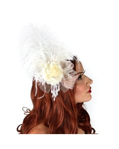 Victorian Style Ostrich  Feather Clip Fascinator - Ivory
