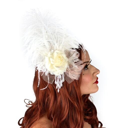 1 Piece FULL PINWHEEL WHITE Hackle Feathers; Headbands//Hats//Halloween