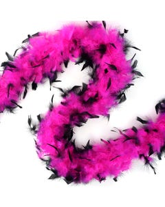 PINK BLACK TIPPED FEATHER BOA