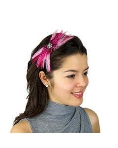 Feather Headband Embellishment w/Hackle/Guinea Candy Pink/Shocking Pink