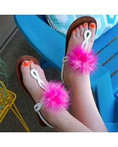 Feather Shoe Clip w/Multi Marabou - Pinks Mix
