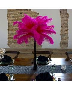 Ostrich Eiffel Tower Centerpiece Shocking Pink w/Black Vase