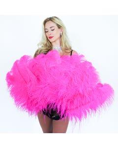Ostrich Prime Femina Feather Fan - Shocking Pink