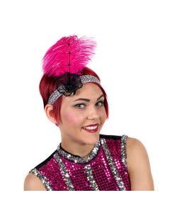 Ostrich Flapper Headband Shocking Pink/Silve