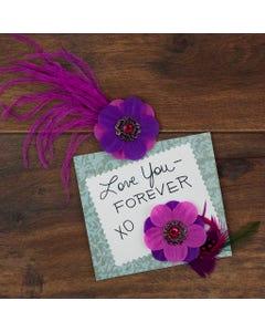 Flower Stickers w/Feathers