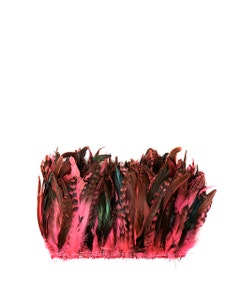 """Rooster Coque Tails-Chinchilla - Pink Orient - 7-10"""" - 1/4 lb (1.25 yards)"""