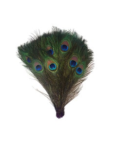 "Bulk Peacock Eye Feathers (Full Eye) Stem Dyed  100 PC  8-15"" - Purple"