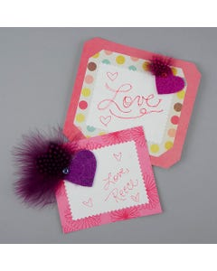 Glitter Heart Sticker w/Guinea Purple and Shocking Pink