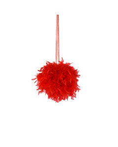 """Chandelle Feather Pom Poms - Red - 12"""""""