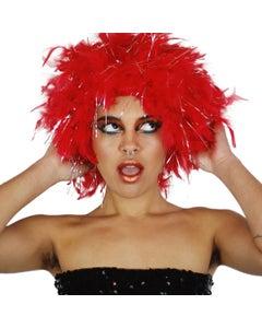 Chandelle Feather Wig-Lurex - Red/Silver Lurex