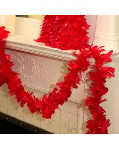 Feather Garland w/Goose Coquille Red w/Opal Glitter