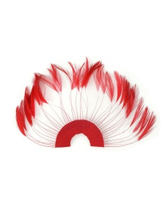 Hackle Plate Trims with Beads - Red