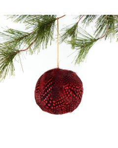 """Guinea Feather Ornament - Dyed 3"""" ball Red"""
