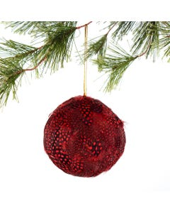 Red Guinea Feather Ornament