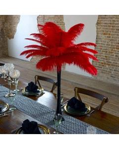 Ostrich Eiffel Tower Centerpiece Red w/Black Vase