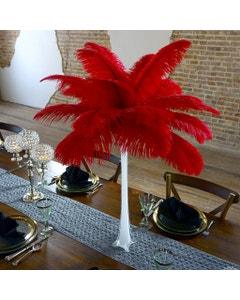 Ostrich Eiffel Tower Centerpiece Red w/White Vase