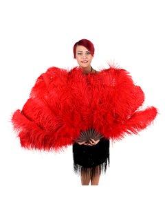 Red Ostrich Prime Femina Feather Fan