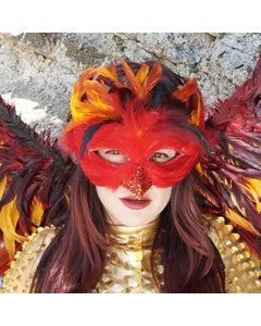 Phoenix Firebird Feather Mask For Carnival And Halloween Costume - Red