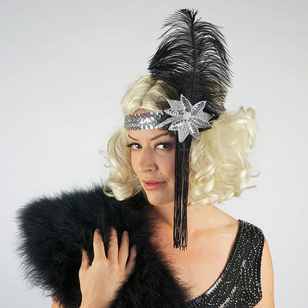 SILVER SEQUIN /& WHITE FEATHER 20s FLAPPER HEADBAND Ladies Fancy Dress Accessory