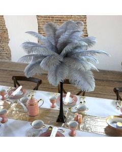 Ostrich Eiffel Tower Centerpiece Silver w/Black Vase