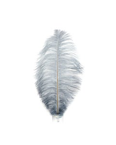 """1 PC PKG Ostrich Feather Drabs Dyed 17""""- Silver"""