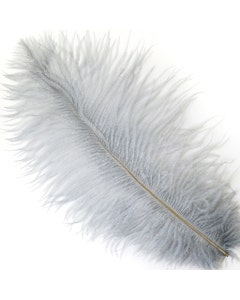 """Ostrich Feathers-Drabs - 9-12"""" - 12 pcs [Premium Top Quality] Silver"""