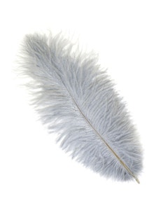 Ostrich Feather Drabs - 12 pieces 13-16 inch - Silver