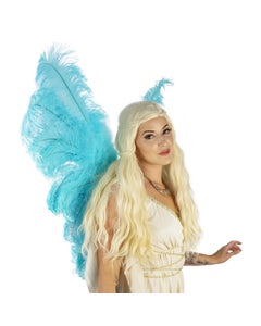 ADULT ANGEL FAIRY BUTTERFLY WING -  OSTRICH FEATHER WINGS - LIGHT TURQUOISE