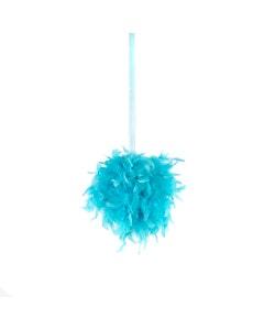 "Chandelle Feather Pom Poms - Lt Turquoise - 12"""