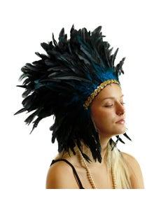"Large Sequined Adjustable Costume Feather Spirit Headdress 15"" - Dark Turquoise Blue"