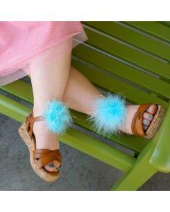 Feather Shoe Clip w/Marabou-Lurex - Lt Turquoise/Opal Lurex