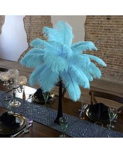 Ostrich Eiffel Tower Centerpiece Lt Turquoise w/Black Vase