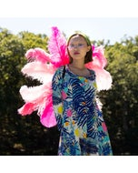 Medium Upcycled Ostrich Feather Costume Wings - Flamingo