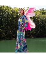 Large Upcycled Ostrich Feather Costume Wings - Flamingo