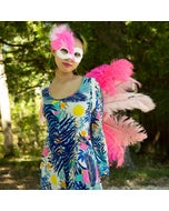 Halloween Feather Pink Mask