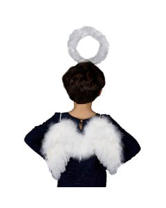 White Angel Wing Halo Costume - Kids Halloween Baby Toddler Feather Wings