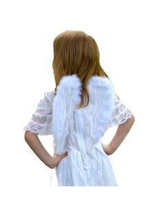 """Infant Feather Angel Wings - White-Marabou - 11"""" x12"""""""
