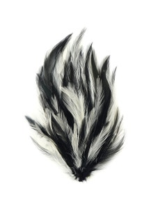 Feather Hackle Pads Mix Dyed - White/Black