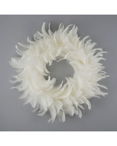 White Goose Coquille Feather Wreath - 18 inch