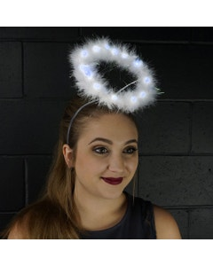 Marabou Feather Halo W/LED Lights White W/Opal Lurex