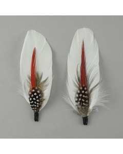 Hat Feather Trim With Goose and Pheasant - White Natural