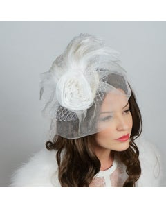 Ostrich Feather Fascinator Wedding, Victorian Style Party Hair Accessory - White