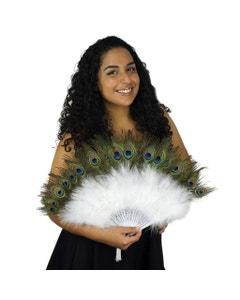 Marabou-Peacock Feather Fan - White