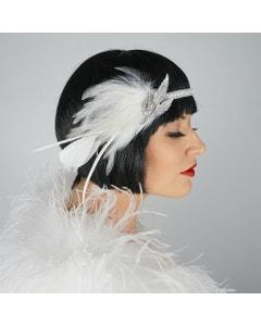 Gatsby Feather Headband w/Rhinestone Leaf - White and Silver