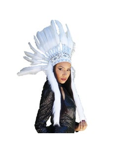 Tribal Style Feather Headdress - White