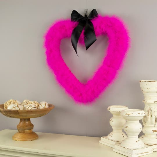 Decorative Pink Heart Shaped Feather Wreath
