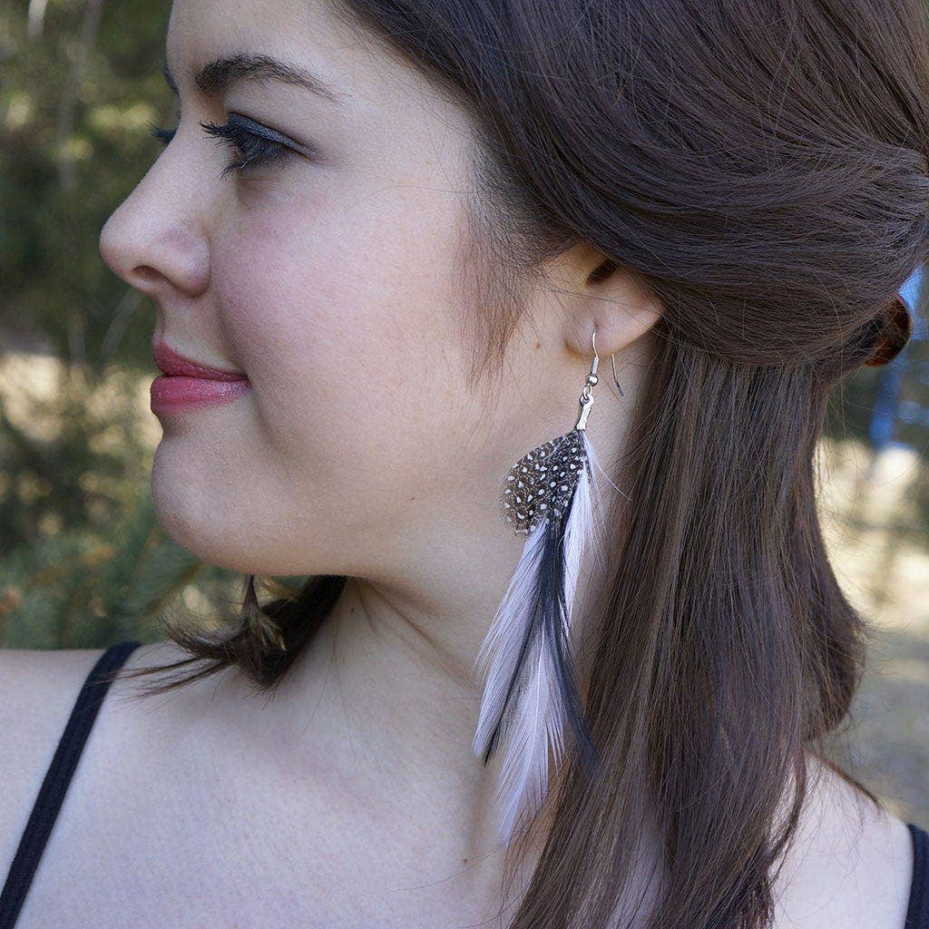 Feather Earrings Black and White