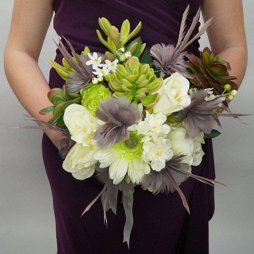 Feather Floral Bridal Bouquet