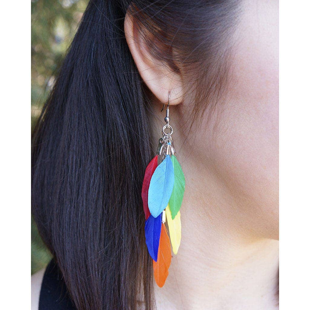 Feather Earrings Bright